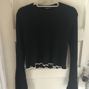 Zara cropped sweater bell sleeve black and white